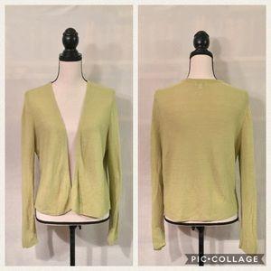 J. Jill green linen blend open front cardigan